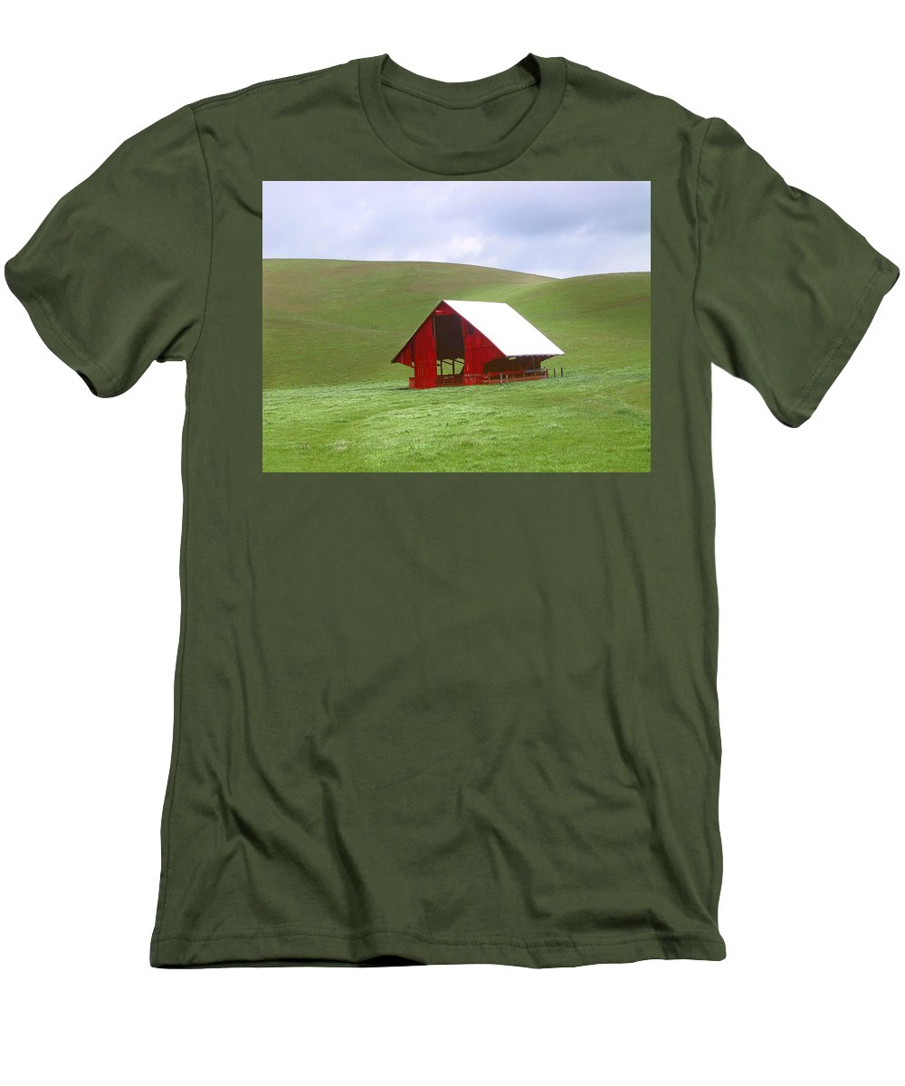 Landscape Men's T-Shirt (Athletic Fit) featuring the photograph Red Barn In Spring by Karen W Meyer