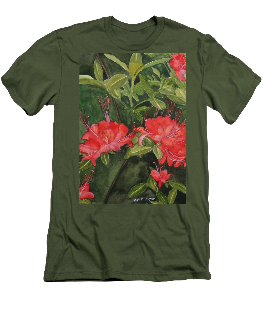Flowers Men's T-Shirt (Athletic Fit) featuring the painting Red Blooms On The Parkway by Jean Blackmer