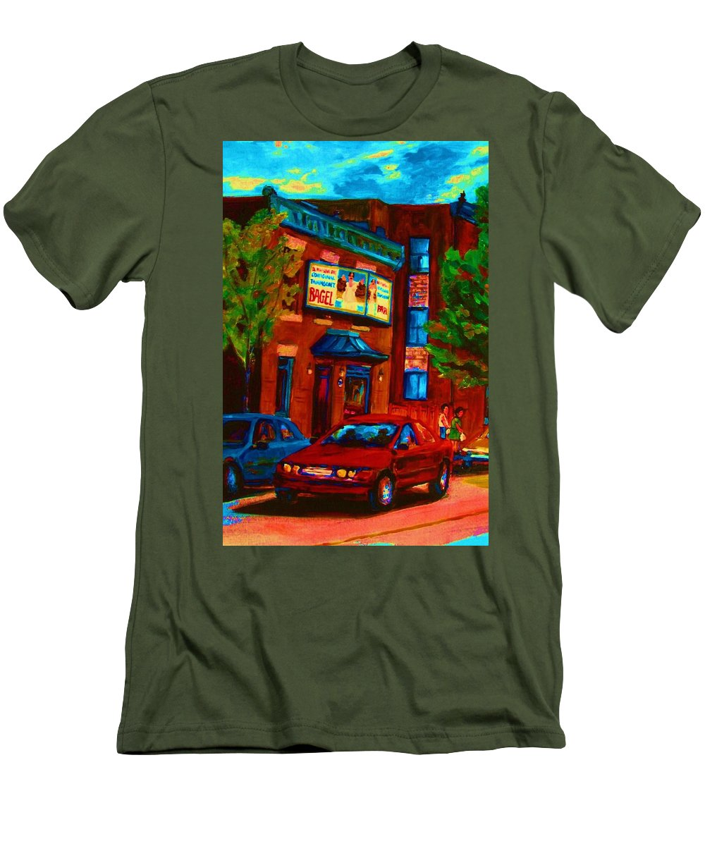 Fairmount Bagel Men's T-Shirt (Athletic Fit) featuring the painting Red Car Blue Sky by Carole Spandau