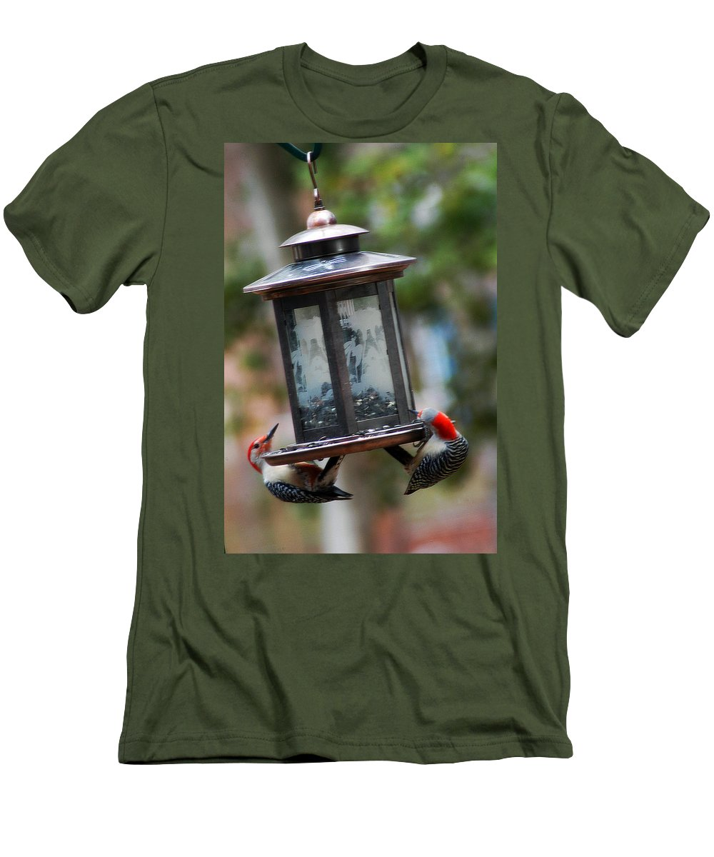 Clay Men's T-Shirt (Athletic Fit) featuring the photograph Red Head Wood Peckers On Feeder by Clayton Bruster