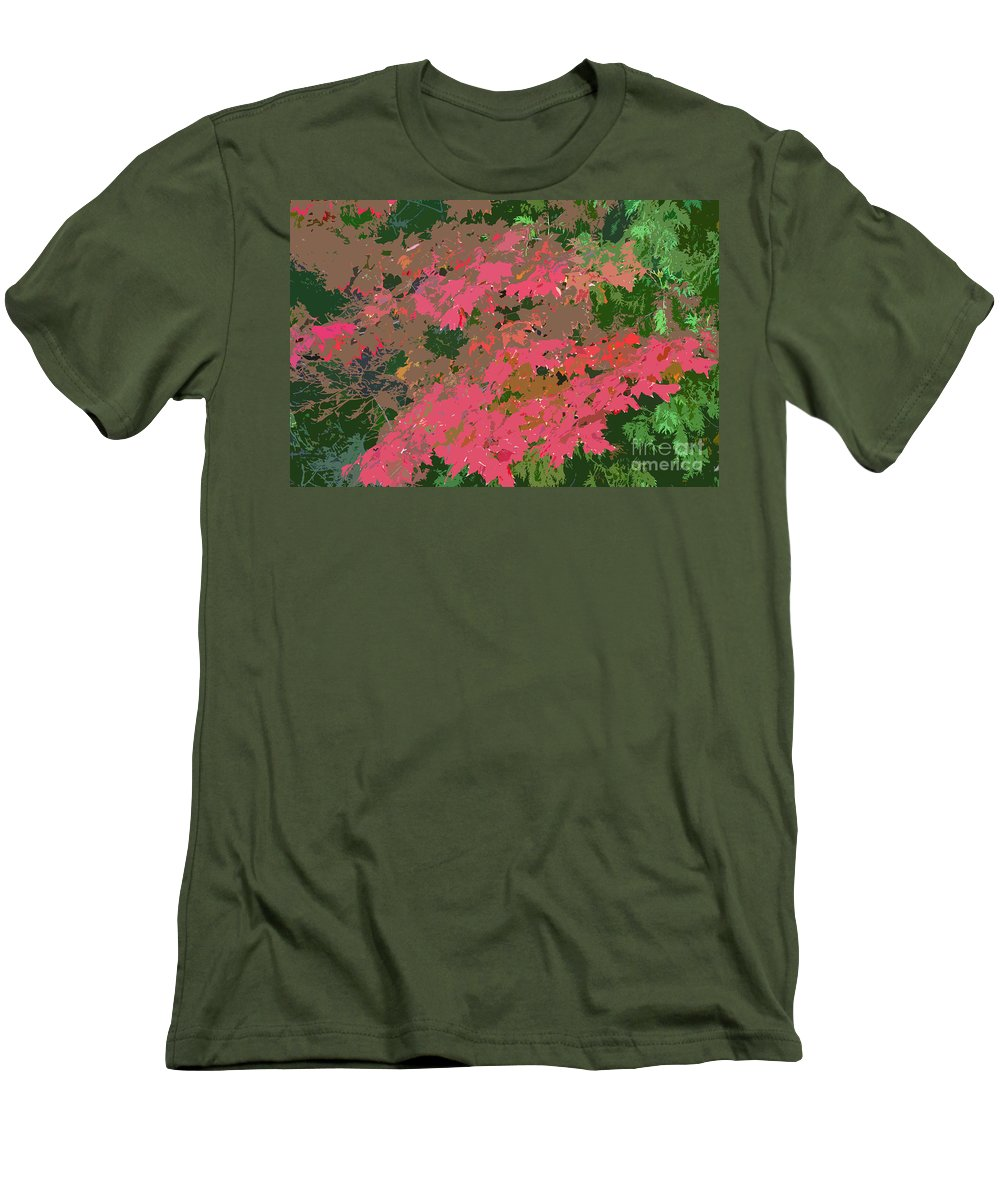 Red Men's T-Shirt (Athletic Fit) featuring the photograph Red Leafs Work Number 12 by David Lee Thompson