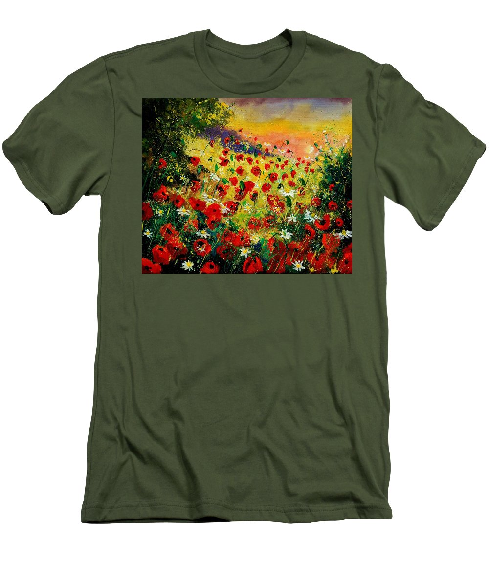 Tree Men's T-Shirt (Athletic Fit) featuring the painting Red Poppies by Pol Ledent