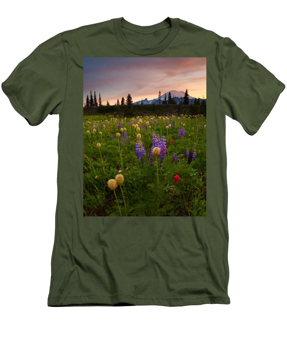Anenome Men's T-Shirt (Athletic Fit) featuring the photograph Red Sky Meadow by Mike Dawson