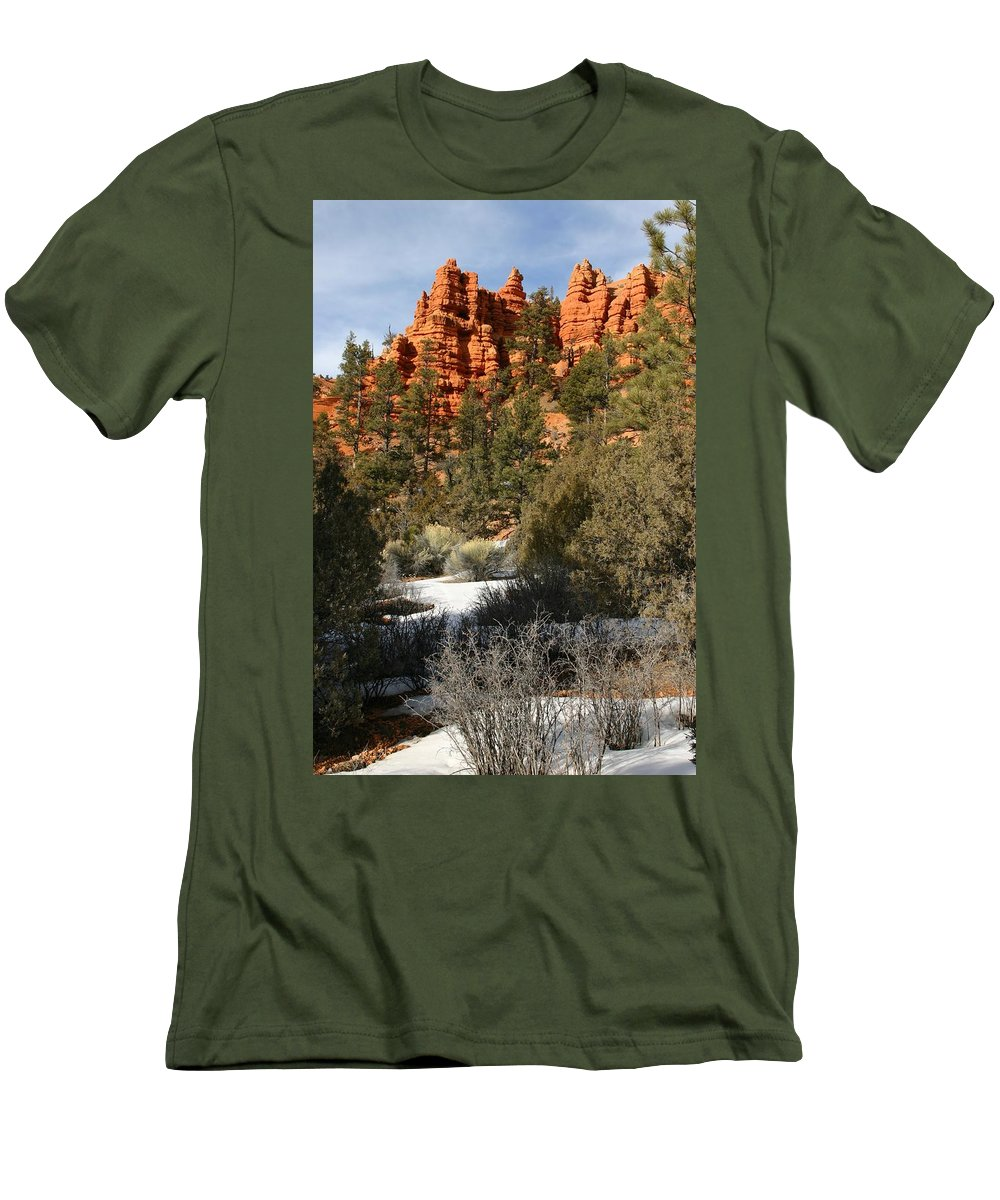 Red Rocks Men's T-Shirt (Athletic Fit) featuring the photograph Redrock Winter by Nelson Strong