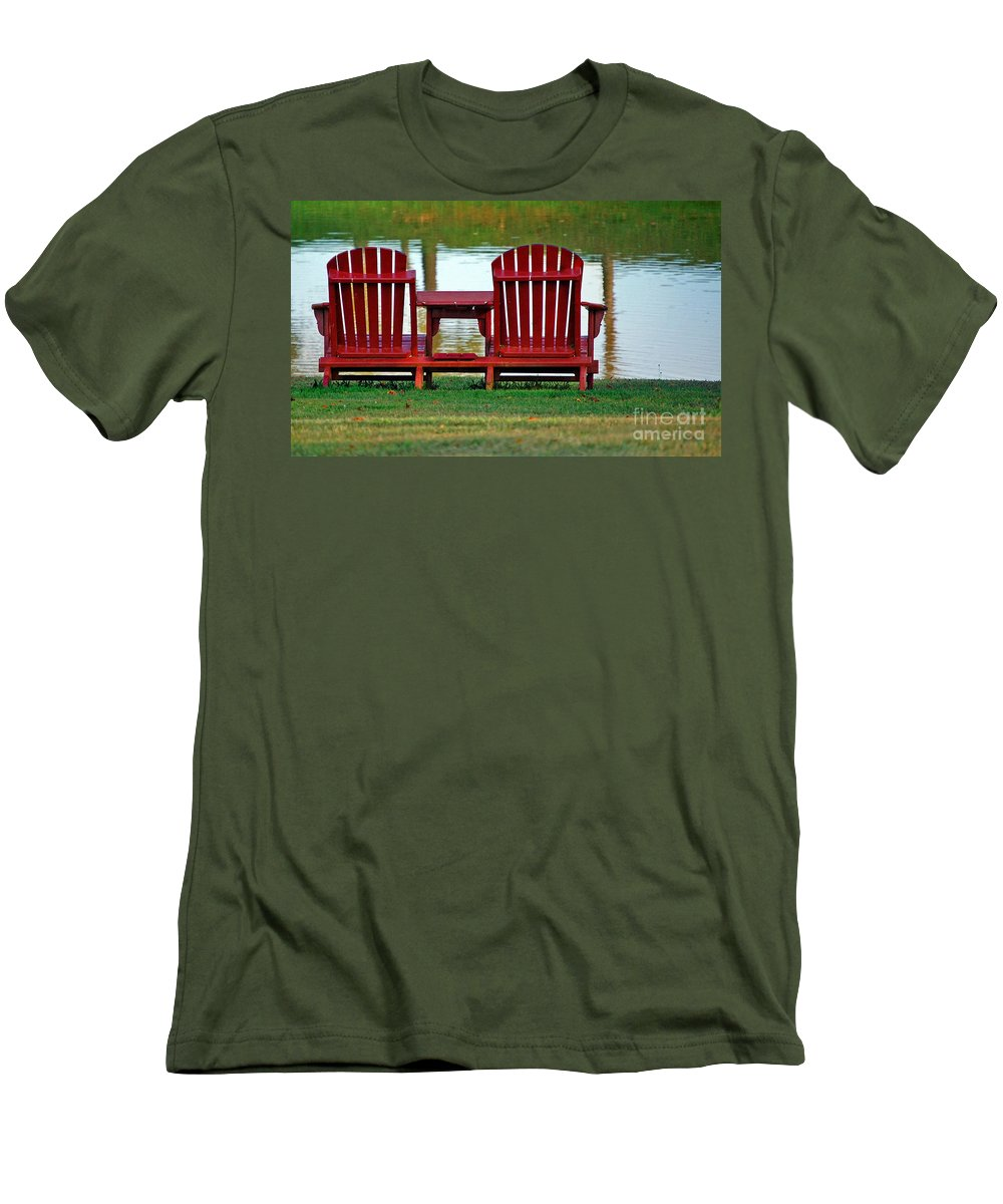 Chairs Men's T-Shirt (Athletic Fit) featuring the photograph Reflection by Debbi Granruth