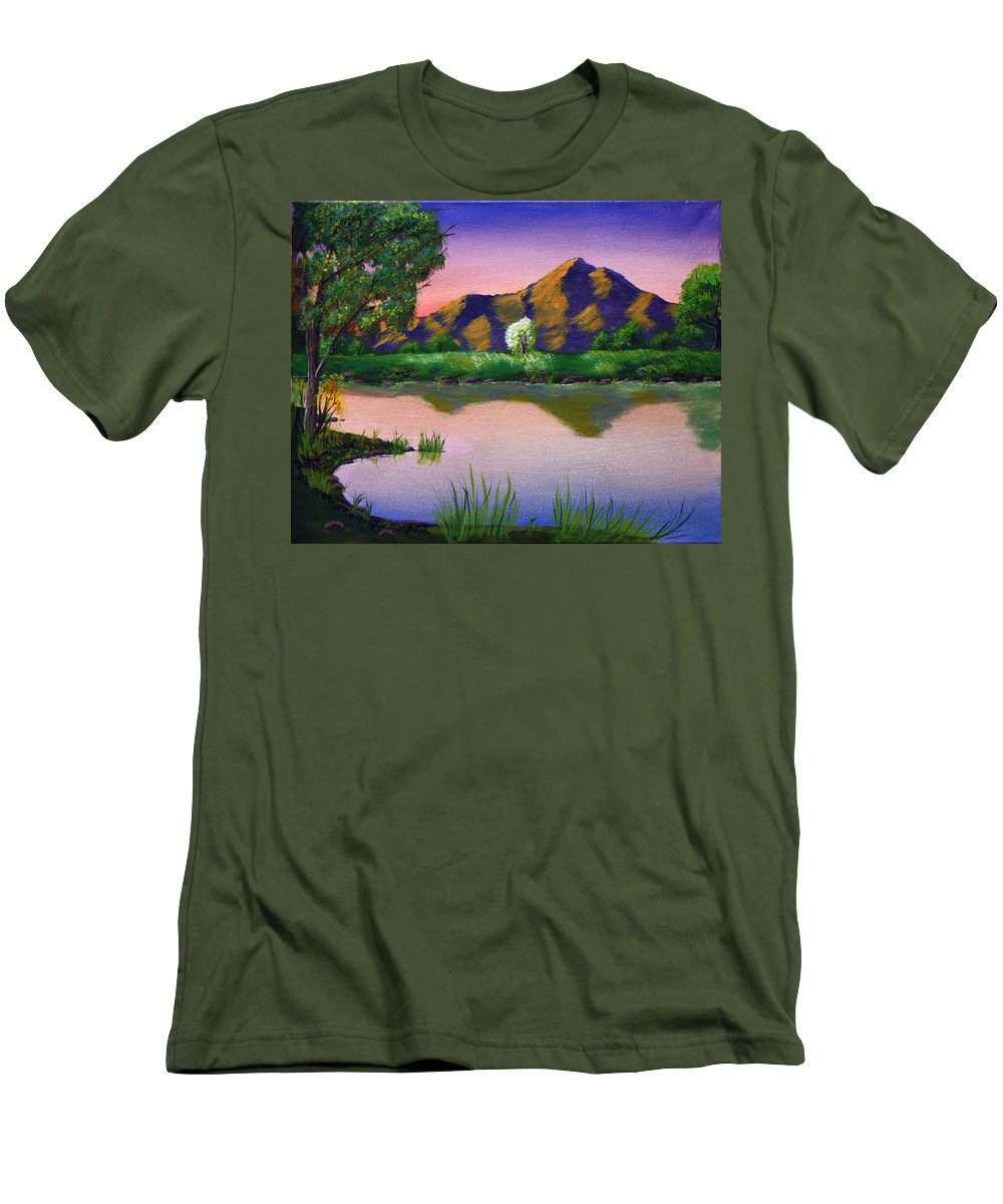 Landscape Men's T-Shirt (Athletic Fit) featuring the painting Reflections In The Breeze by Dawn Blair
