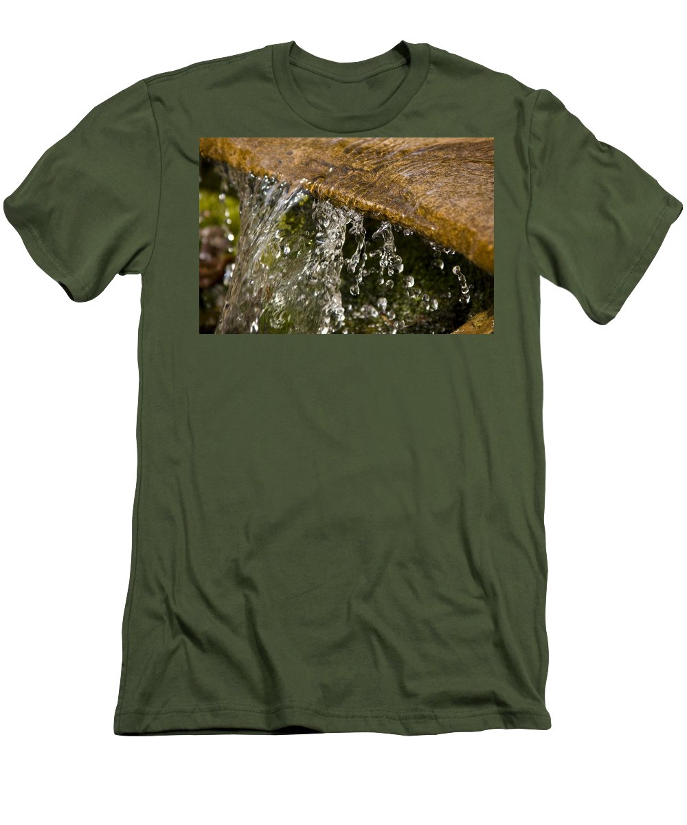 Water Stream Creek Drop Droplet Stone Run Nature Clear Cold Fall Men's T-Shirt (Athletic Fit) featuring the photograph Refreshment by Andrei Shliakhau
