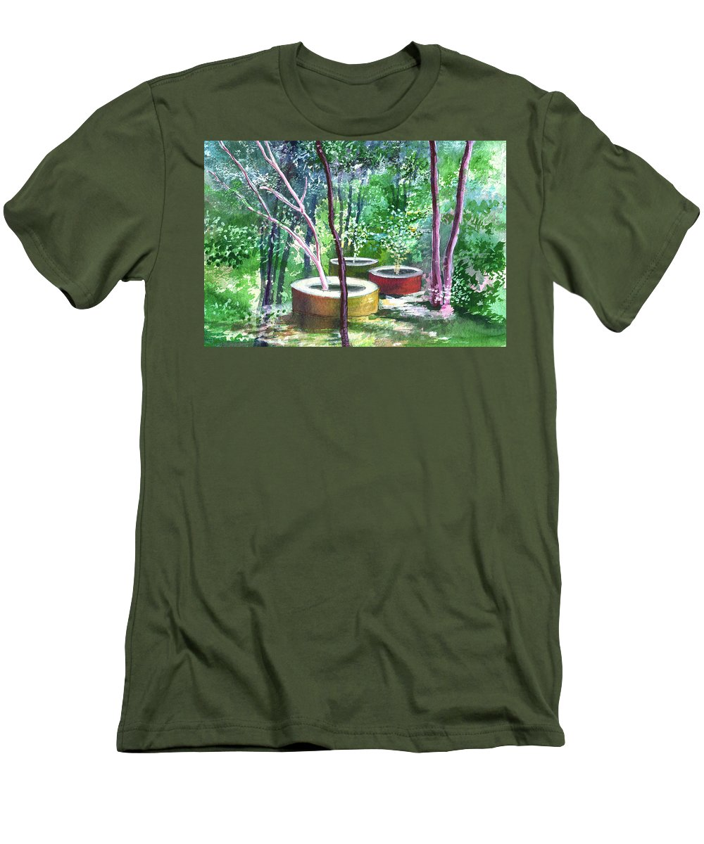 Opaque Landscape Men's T-Shirt (Athletic Fit) featuring the painting Relax Here by Anil Nene