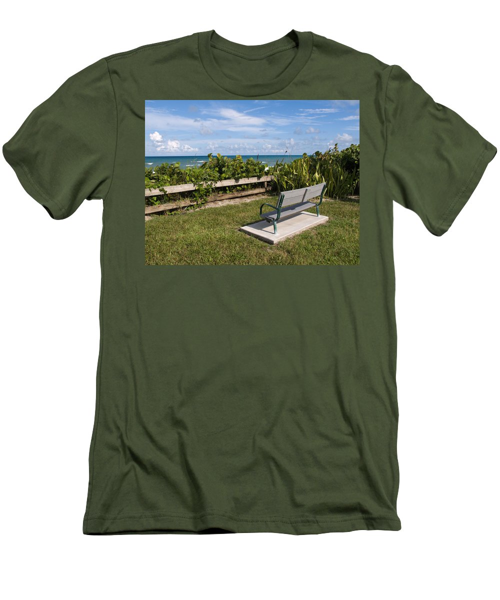 Bench; Public; Florida; Melbourne; Beach; Coast; Shore; Surf; Sand; Brevard; Space; Ocean; Sea; Atla Men's T-Shirt (Athletic Fit) featuring the photograph Reserved For A Visitor To East Coast Florida by Allan Hughes