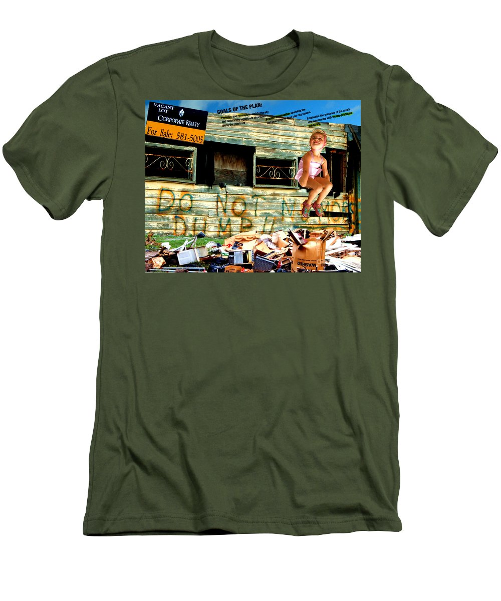 Riverfront Development Men's T-Shirt (Slim Fit) featuring the photograph Riverfront Visions by Ze DaLuz