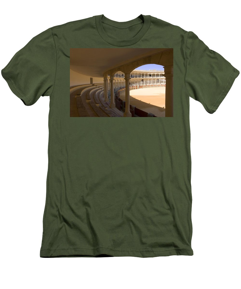 Bullfight Men's T-Shirt (Athletic Fit) featuring the photograph Ronda Bullring The Real Maestranza De Caballeria by Mal Bray