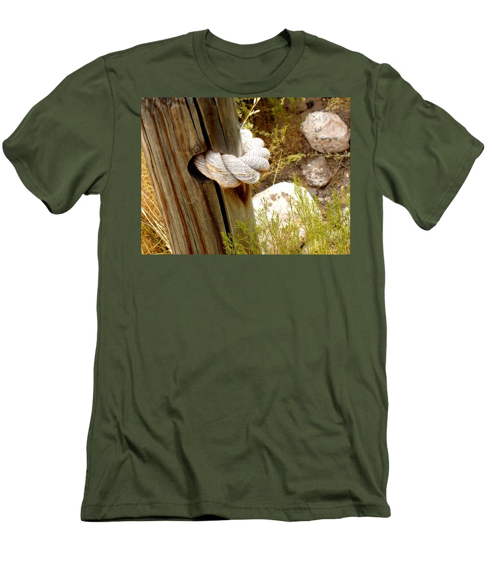 Rope Men's T-Shirt (Athletic Fit) featuring the photograph Rope In A Post by Wayne Potrafka
