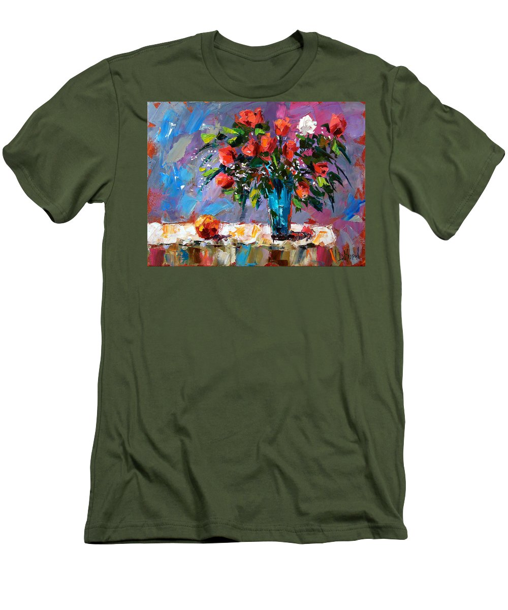 Flowers Men's T-Shirt (Athletic Fit) featuring the painting Roses And A Peach by Debra Hurd
