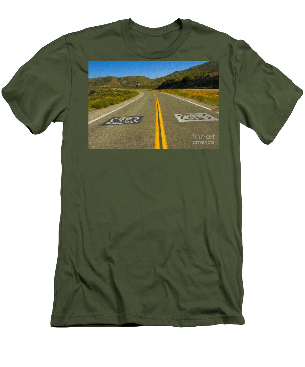 National Men's T-Shirt (Athletic Fit) featuring the photograph Route 66 National Historic Road by David Zanzinger