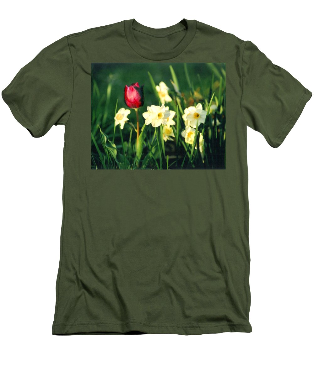Tulips Men's T-Shirt (Athletic Fit) featuring the photograph Royal Spring by Steve Karol