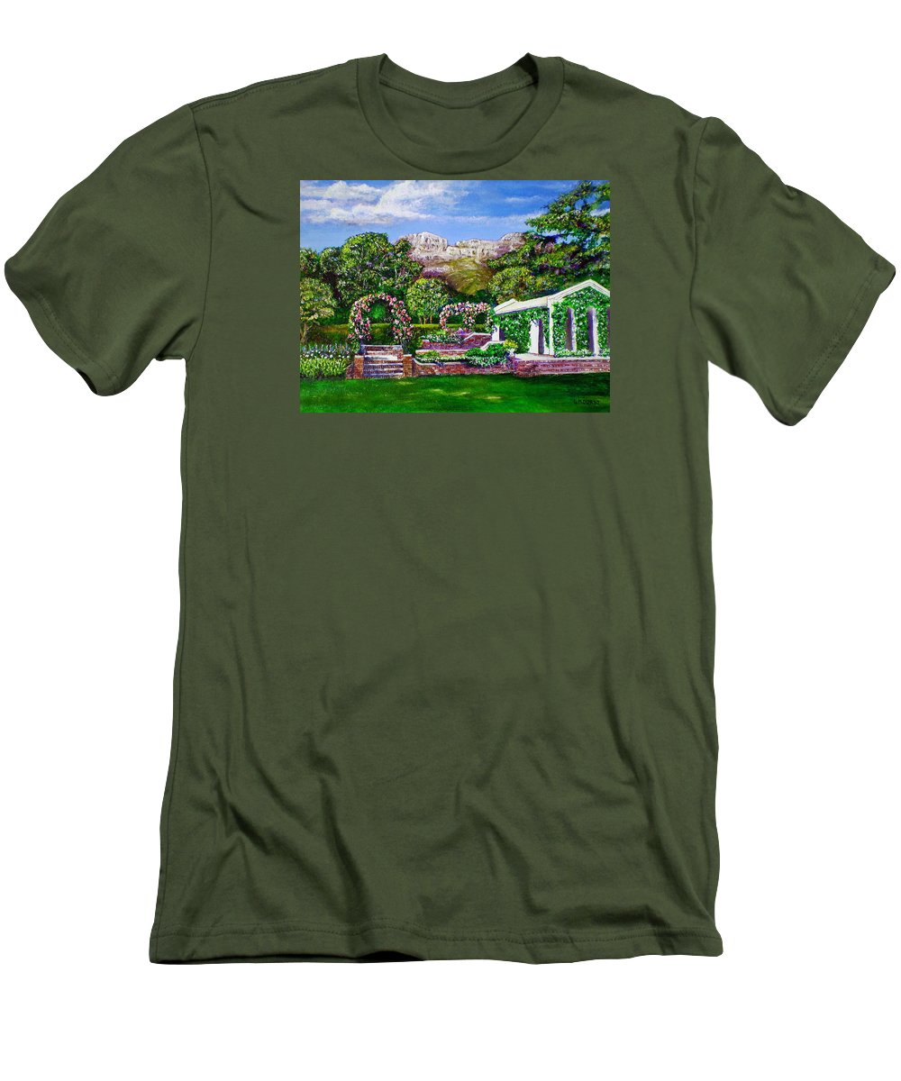 Landscape Men's T-Shirt (Athletic Fit) featuring the painting Rozannes Garden by Michael Durst