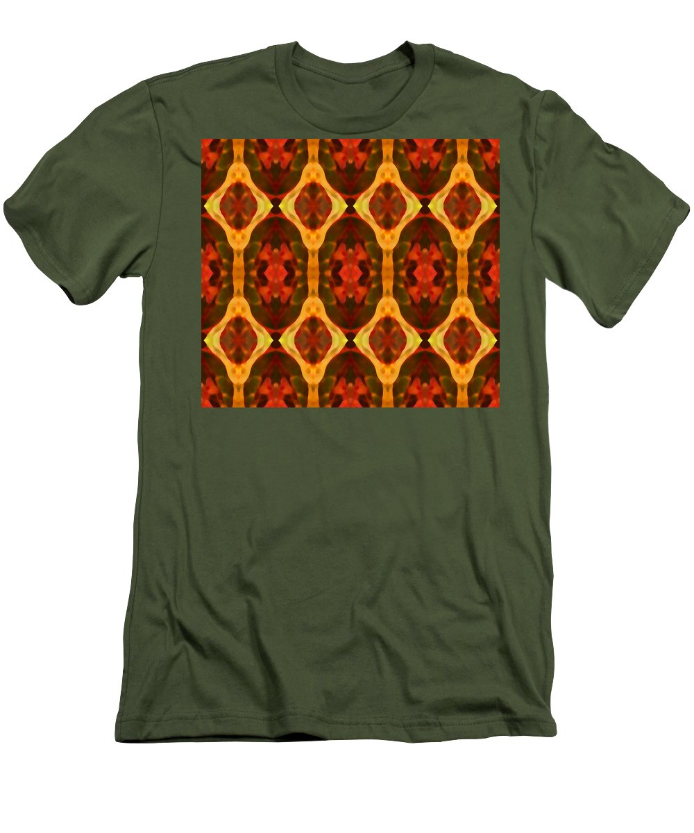 Abstract Men's T-Shirt (Athletic Fit) featuring the painting Ruby Glow Pattern by Amy Vangsgard