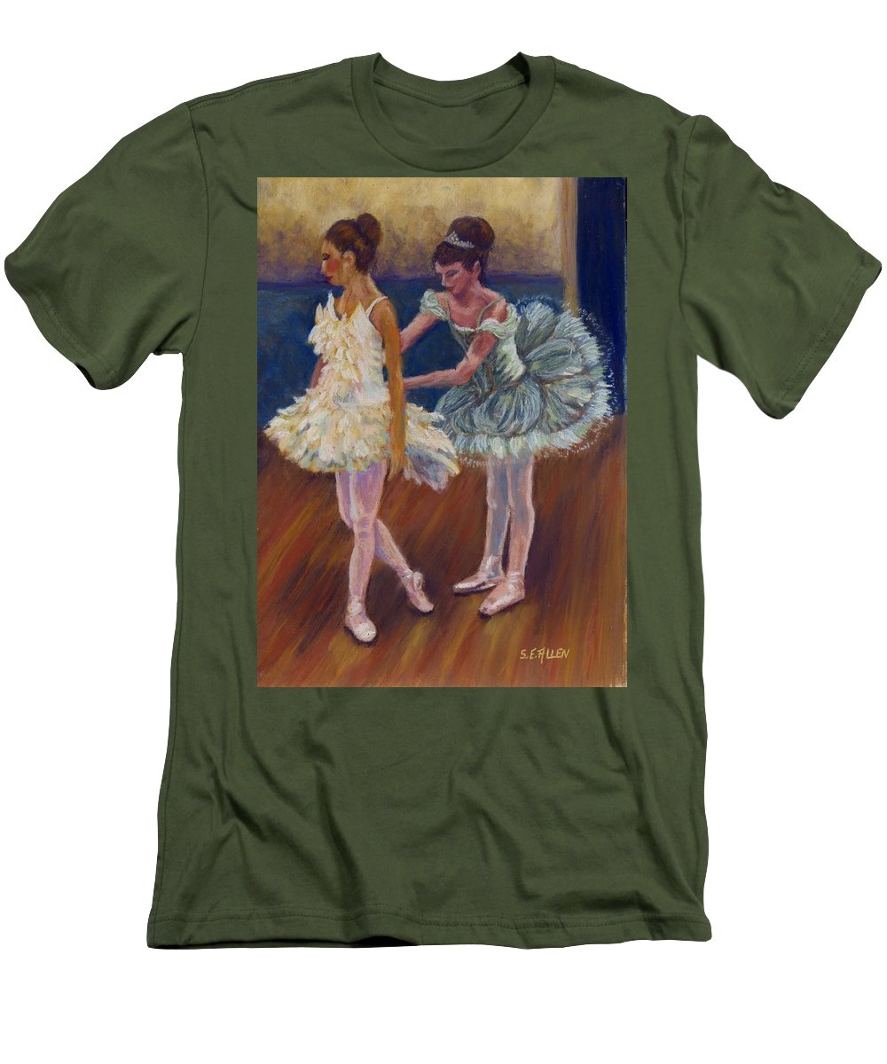 Ballerina Men's T-Shirt (Athletic Fit) featuring the painting Ruffled Feathers by Sharon E Allen