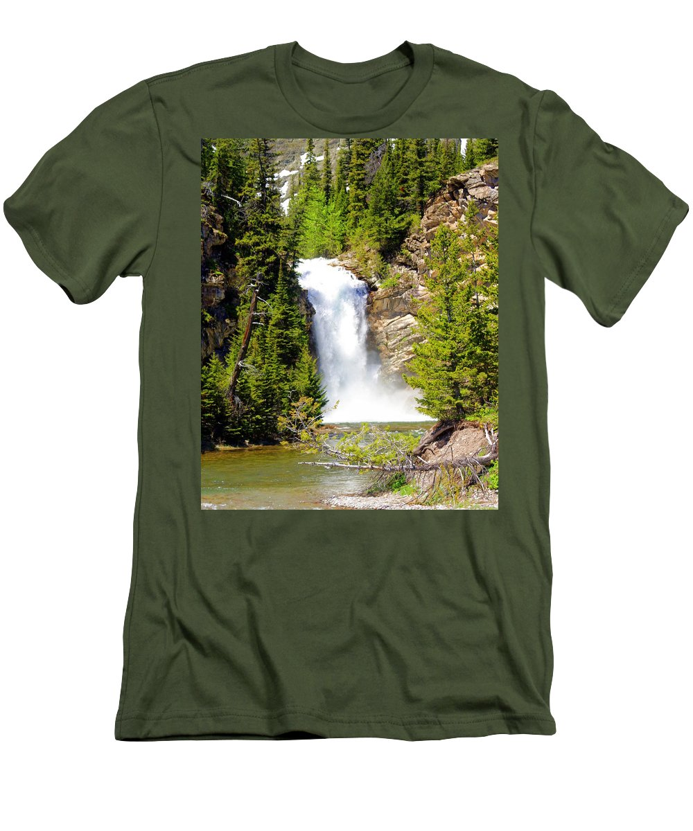 Waterfalls Men's T-Shirt (Athletic Fit) featuring the photograph Running Eagle Falls by Marty Koch