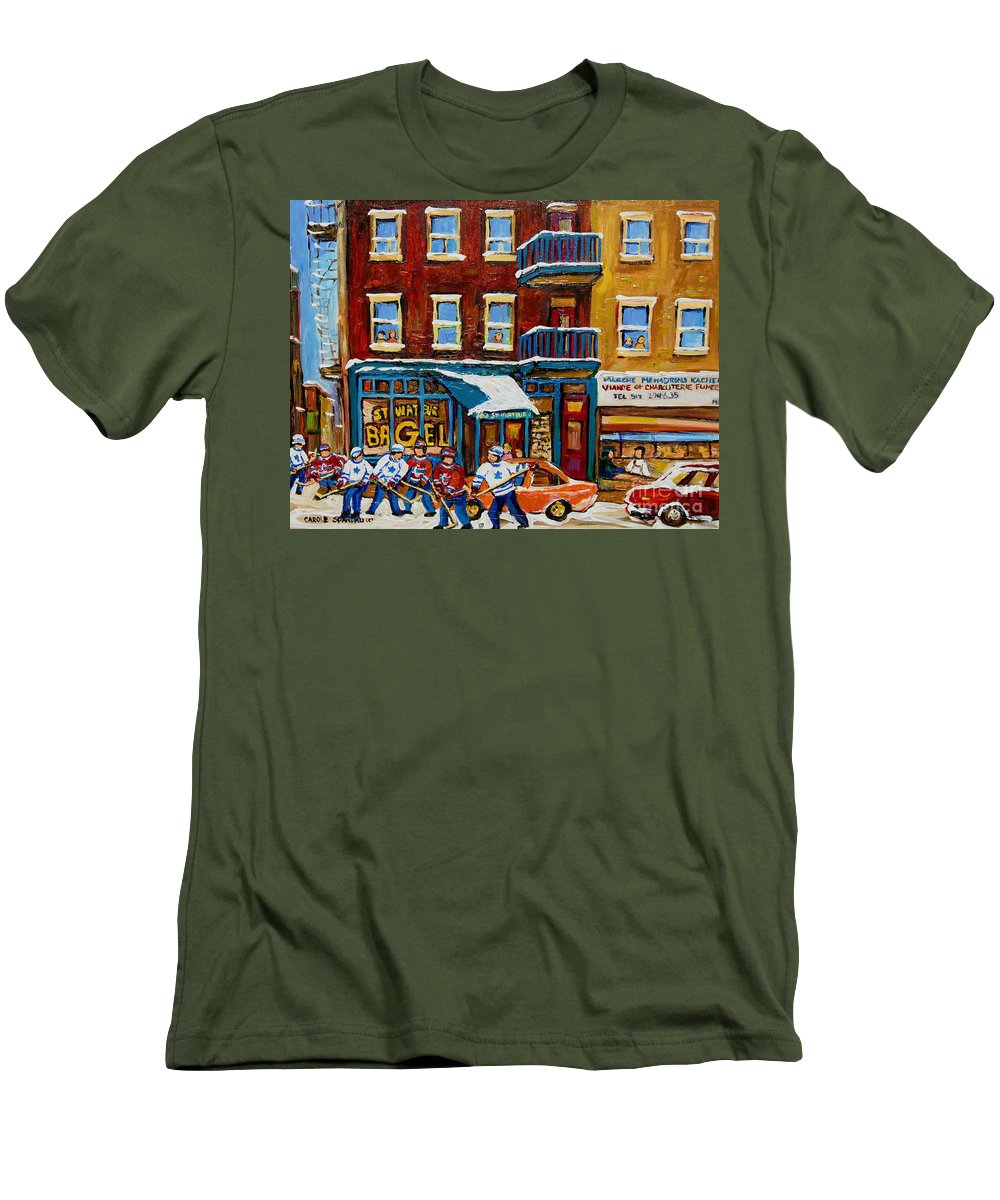 Montreal Men's T-Shirt (Athletic Fit) featuring the painting Saint Viateur Bagel With Hockey by Carole Spandau