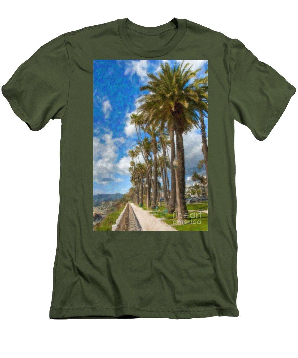 Santa Monica Ca Palisades Park Bluffs Men's T-Shirt (Athletic Fit) featuring the photograph Santa Monica Ca Palisades Park Bluffs by David Zanzinger