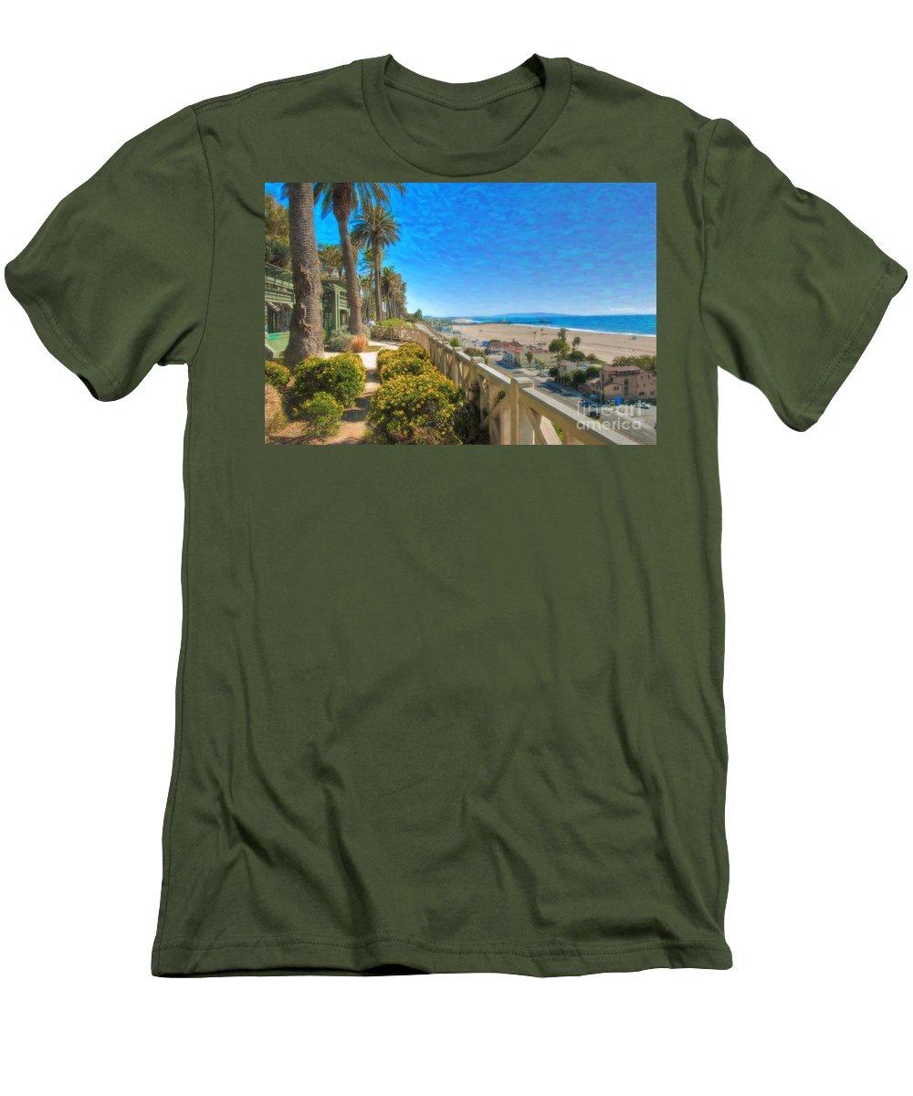 Santa Monica Men's T-Shirt (Athletic Fit) featuring the photograph Santa Monica Ca Palisades Park Bluffs Gold Coast Luxury Houses by David Zanzinger