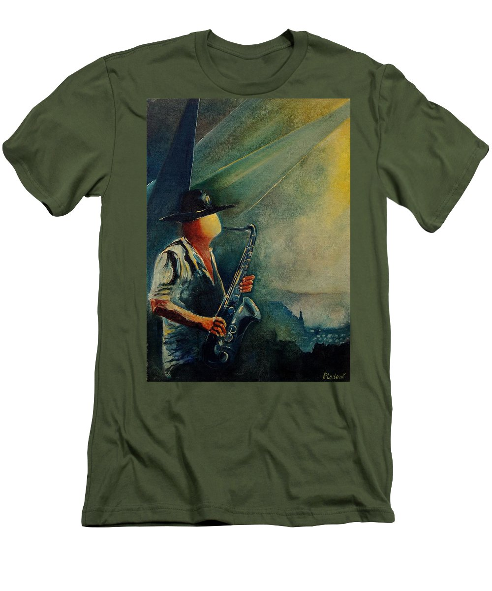 Music Men's T-Shirt (Athletic Fit) featuring the painting Sax Player by Pol Ledent