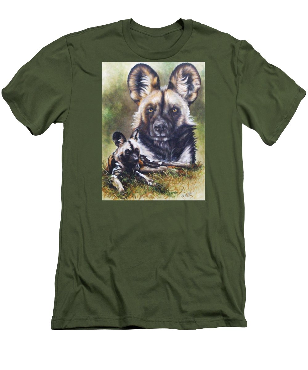 Wild Dogs Men's T-Shirt (Athletic Fit) featuring the mixed media Scoundrel by Barbara Keith