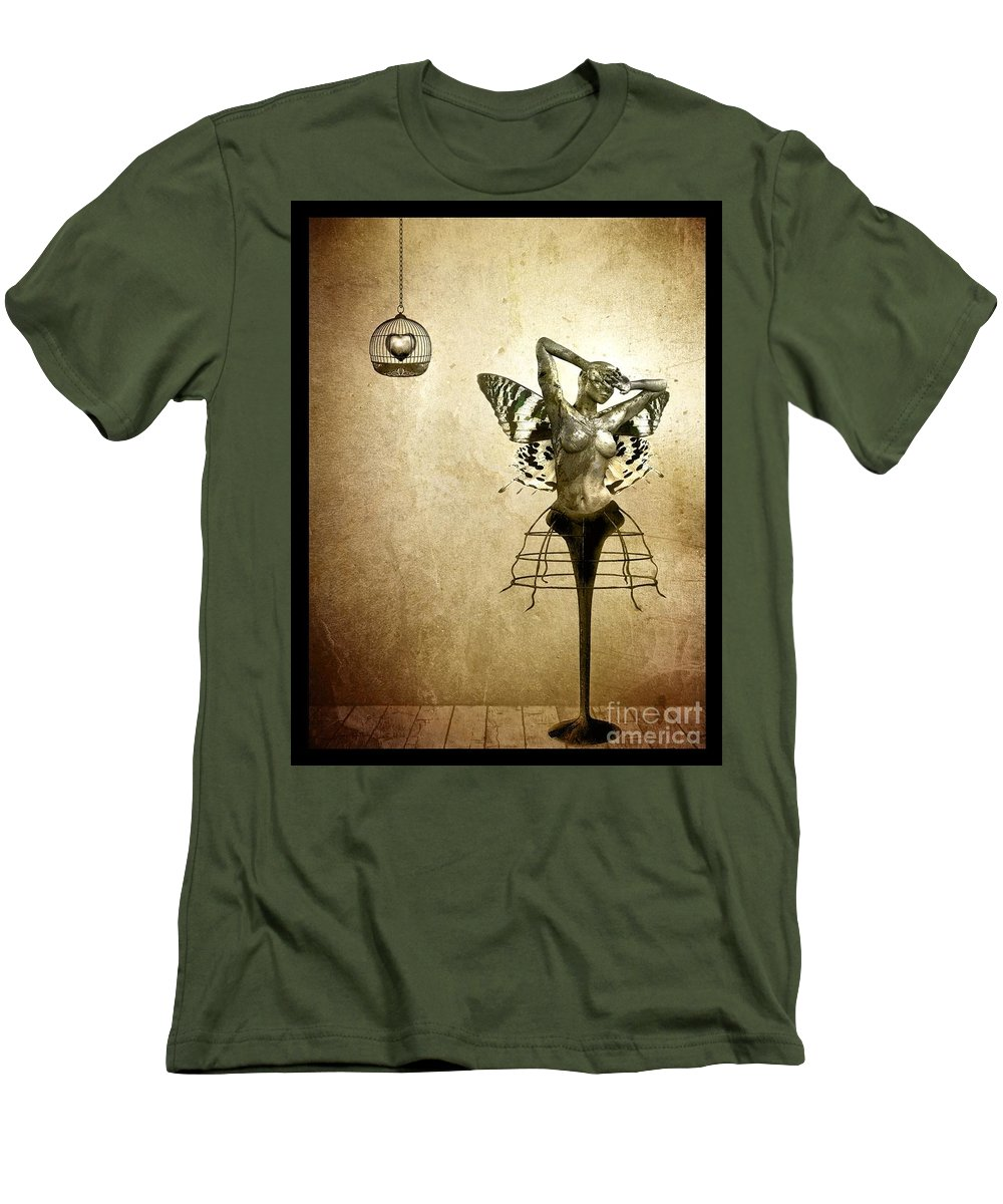 Digital Men's T-Shirt (Athletic Fit) featuring the painting Scream Of A Butterfly by Jacky Gerritsen