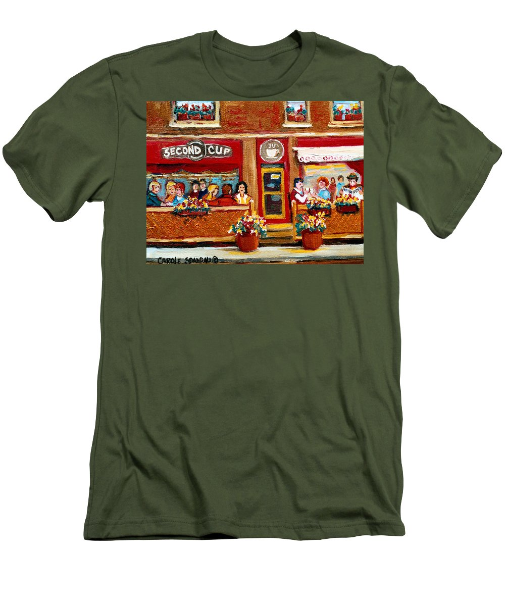 Second Cup Coffee Shop Men's T-Shirt (Athletic Fit) featuring the painting Second Cup Coffee Shop by Carole Spandau