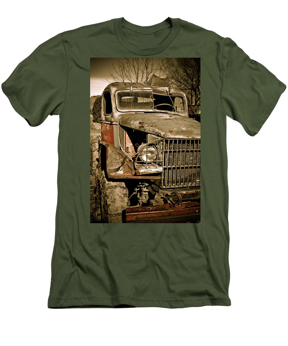 Old Vintage Antique Truck Worn Western Men's T-Shirt (Athletic Fit) featuring the photograph Seen Better Days by Marilyn Hunt
