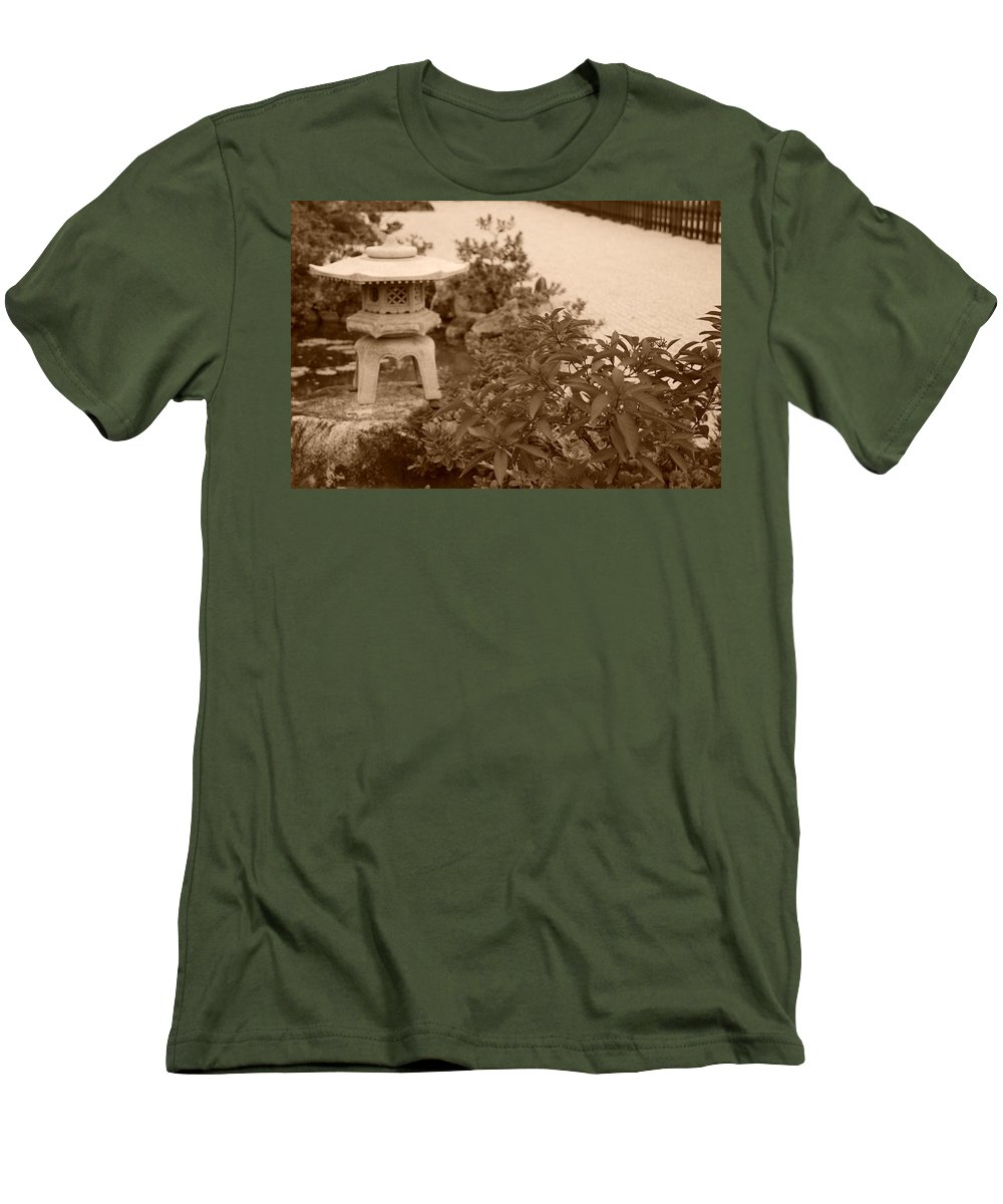 Sepia Men's T-Shirt (Athletic Fit) featuring the photograph Sepia Japanese Garden by Rob Hans
