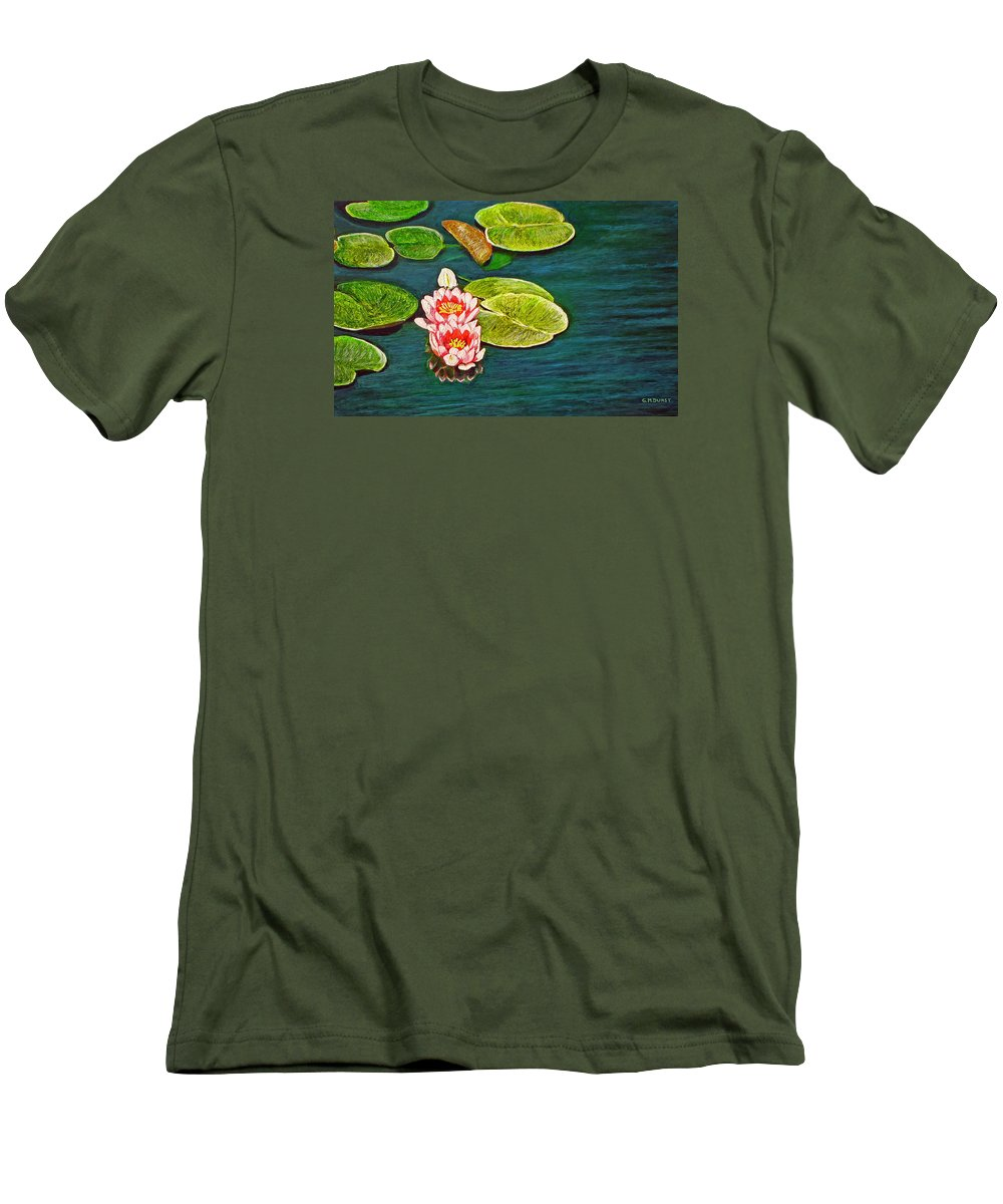 Water Lily Men's T-Shirt (Athletic Fit) featuring the painting Serenity by Michael Durst