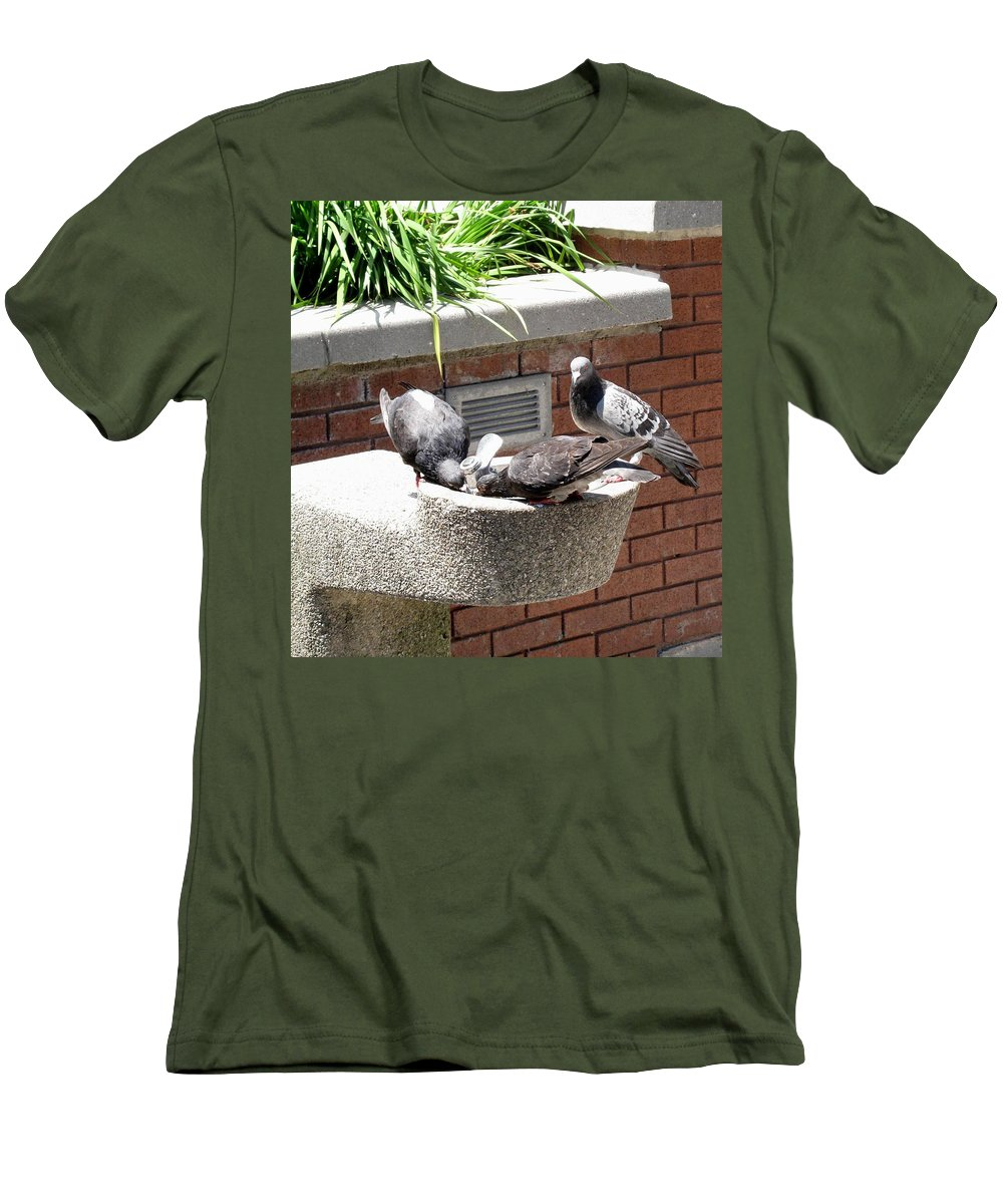 Pigeons Men's T-Shirt (Athletic Fit) featuring the photograph Shooo by Ian MacDonald