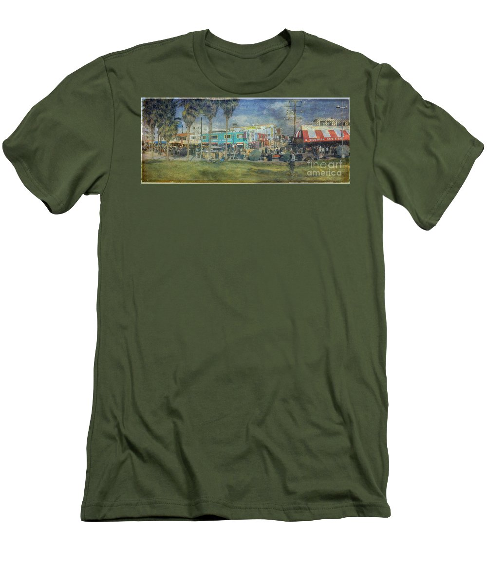 Fine Art Photograph Digital Watercolor Texture Overlay Sidewalk Cafe Venice Ca Panorama Men's T-Shirt (Athletic Fit) featuring the photograph Sidewalk Cafe Venice Ca Panorama by David Zanzinger