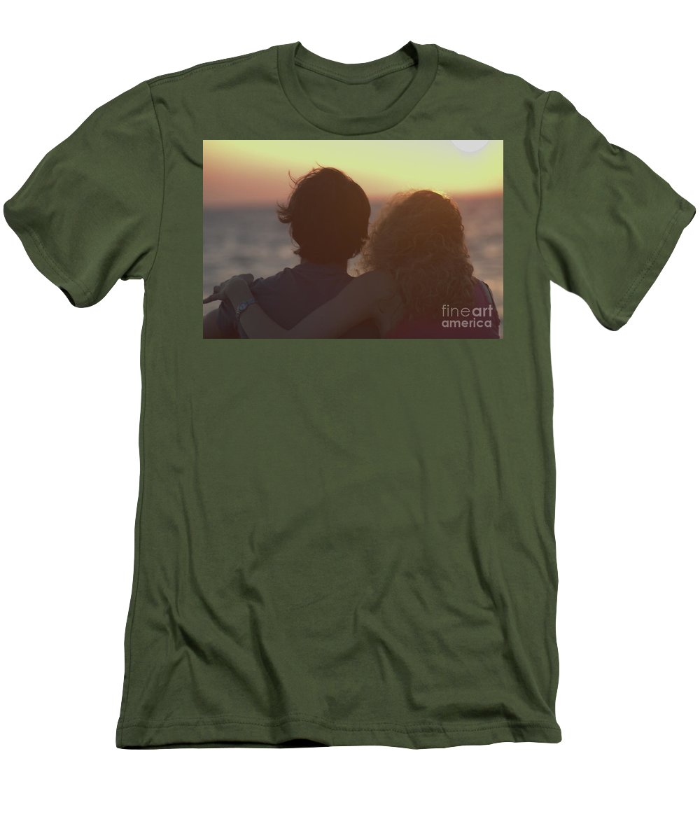 Silhouette Men's T-Shirt (Athletic Fit) featuring the photograph Silhouette Of A Romantic Couple by Ilan Rosen
