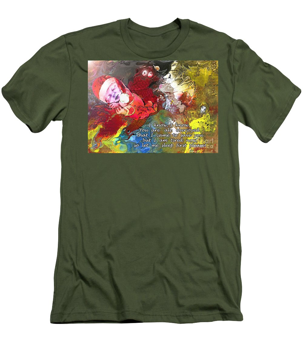 Messiah Painting Men's T-Shirt (Athletic Fit) featuring the painting Sleepig Messiah by Miki De Goodaboom