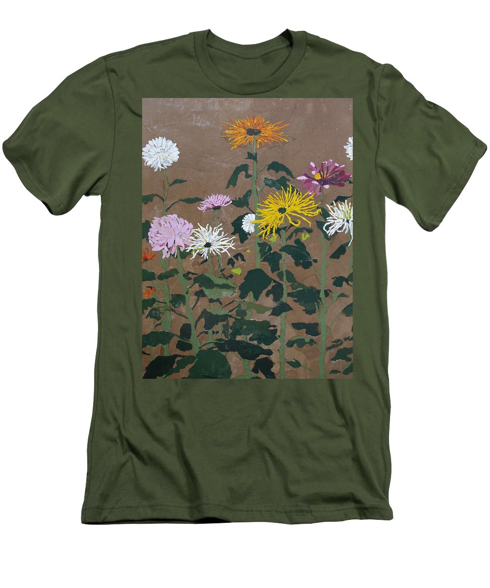 Collage Men's T-Shirt (Athletic Fit) featuring the painting Smith's Giant Chrysanthemums by Leah Tomaino