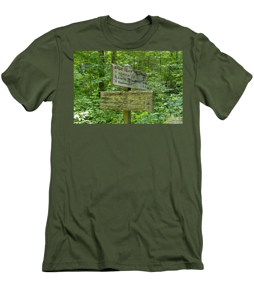 Smoky Mountain National Park Men's T-Shirt (Athletic Fit) featuring the photograph Smoky Mountain Directional by David Lee Thompson