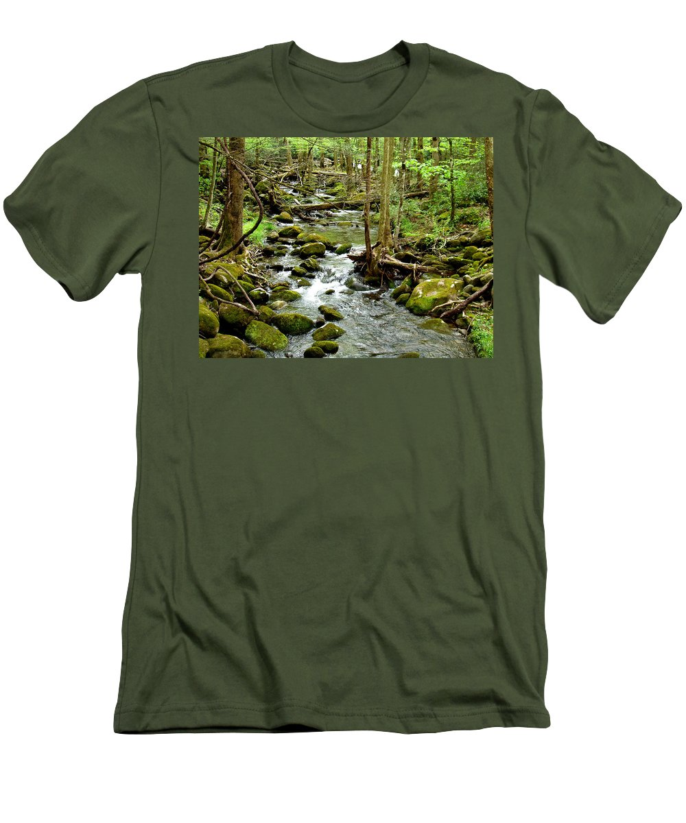 Smoky Mountains Men's T-Shirt (Athletic Fit) featuring the photograph Smoky Mountain Stream 1 by Nancy Mueller