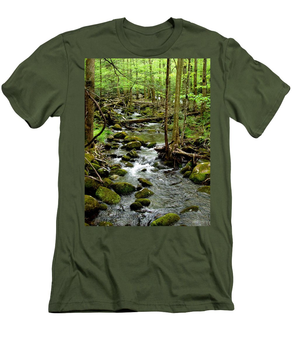 River Men's T-Shirt (Athletic Fit) featuring the photograph Smoky Mountain Stream 2 by Nancy Mueller
