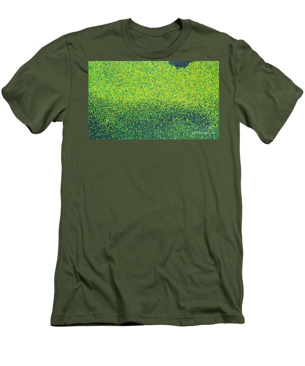Abstract Men's T-Shirt (Athletic Fit) featuring the painting Soft Green Wet Trees by Dean Triolo