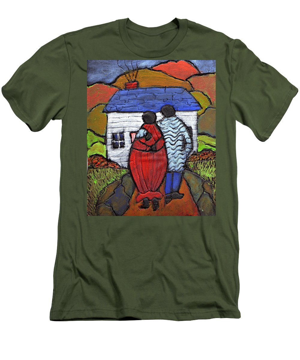 Folk Art Men's T-Shirt (Athletic Fit) featuring the painting Soon To Be Three by Wayne Potrafka