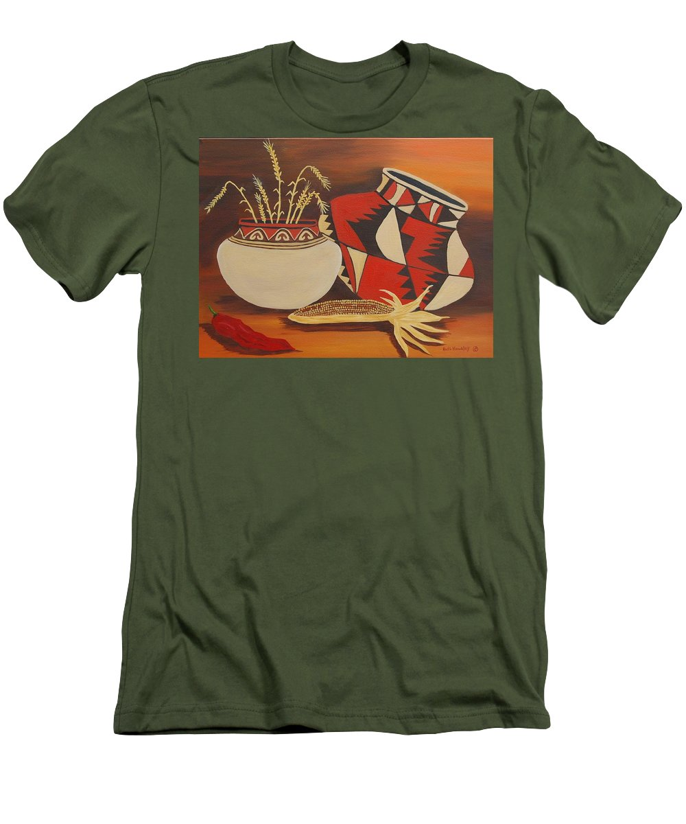 Still Life Men's T-Shirt (Athletic Fit) featuring the painting Southwest Pottery by Ruth Housley
