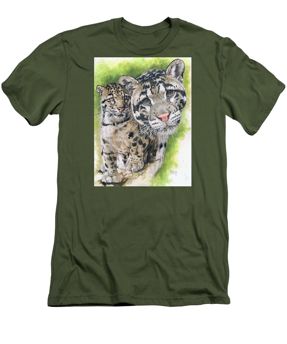 Clouded Leopard Men's T-Shirt (Athletic Fit) featuring the mixed media Sovereignty by Barbara Keith