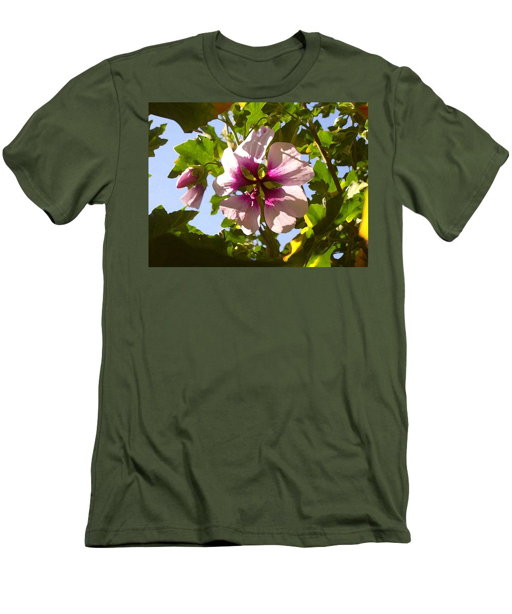 Flower Men's T-Shirt (Athletic Fit) featuring the painting Spring Flower Peeking Out by Amy Vangsgard