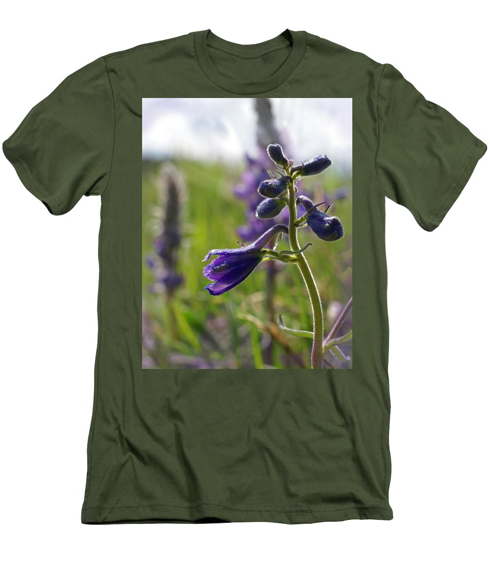 Larkspur Men's T-Shirt (Athletic Fit) featuring the photograph Spring Larkspur by Heather Coen
