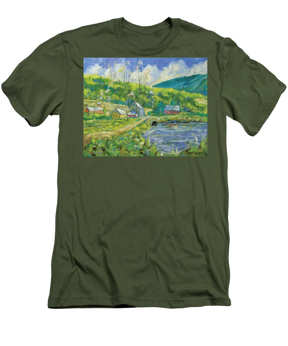 Landscape Men's T-Shirt (Athletic Fit) featuring the painting Spring Scene by Richard T Pranke