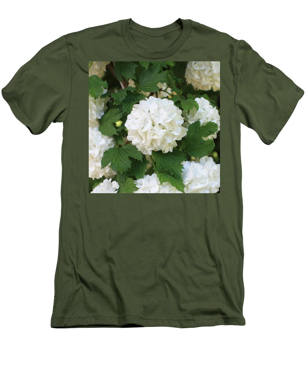 Snowball Men's T-Shirt (Athletic Fit) featuring the photograph Spring Snowball by Carol Groenen
