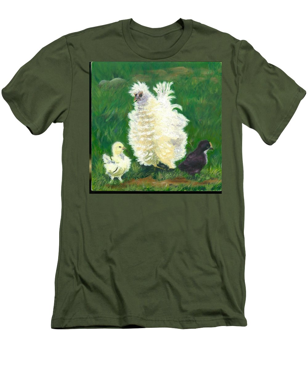 Bantam Frizzle Farmscene Chickens Hen Bird Nature Animals Spring Freerangers Men's T-Shirt (Athletic Fit) featuring the painting Squiggle by Paula Emery